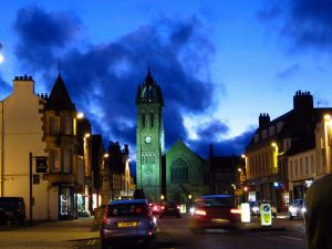 Peebles High Street at night